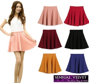 Fashion-Women-s-Candy-Color-Stretch-Waist-Pleated-Jersey-Plain-Skater-Flared-Mini-Skirts[1]